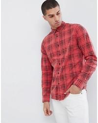 Chemise à manches longues écossaise rouge ONLY & SONS