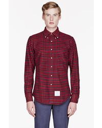 Chemise à manches longues écossaise rouge Thom Browne