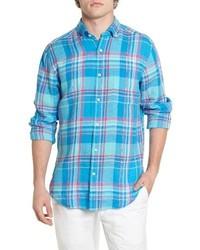 Chemise à manches longues écossaise turquoise