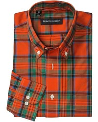 Chemise à manches longues écossaise vert et rouge