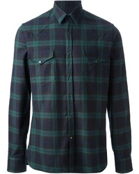 Chemise à manches longues écossaise vert foncé