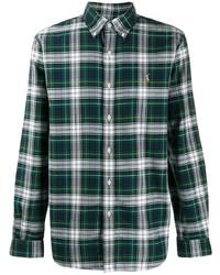 Chemise à manches longues écossaise vert foncé Polo Ralph Lauren
