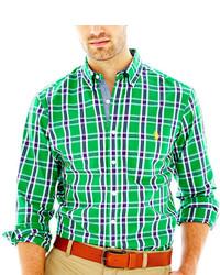 Chemise à manches longues écossaise verte