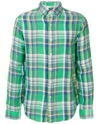 Chemise à manches longues écossaise verte Polo Ralph Lauren
