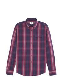 Chemise à manches longues écossaise violette