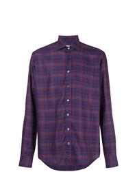 Chemise à manches longues écossaise violette Etro