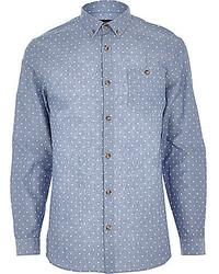 Chemise à manches longues en chambray á pois blanc et bleu