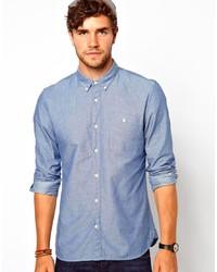 Chemise à manches longues en chambray á pois bleue