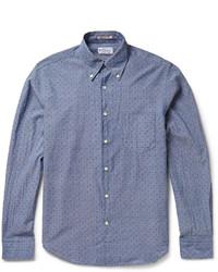 Chemise à manches longues en chambray á pois bleue Gant
