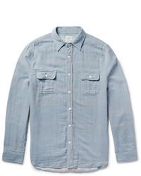 Chemise à manches longues en chambray à rayures verticales bleu clair
