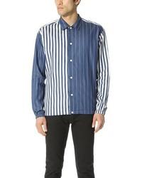 Chemise à manches longues en chambray à rayures verticales bleue