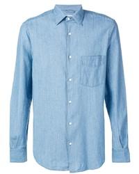 Chemise à manches longues en chambray bleu clair Aspesi