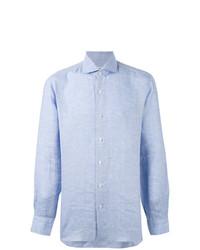 Chemise à manches longues en chambray bleu clair Barba