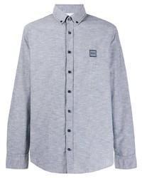 Chemise à manches longues en chambray bleu clair BOSS HUGO BOSS