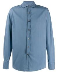 Chemise à manches longues en chambray bleu clair Brunello Cucinelli