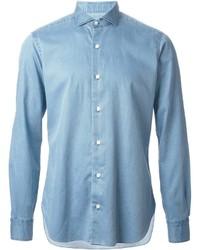 Chemise à manches longues en chambray bleu clair