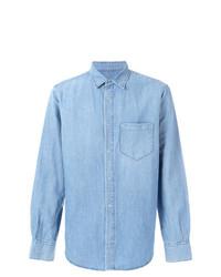Chemise à manches longues en chambray bleu clair Ermanno Scervino