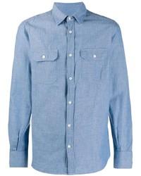 Chemise à manches longues en chambray bleu clair Glanshirt
