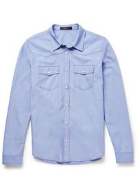 Chemise à manches longues en chambray bleu clair Gucci
