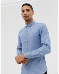 Chemise à manches longues en chambray bleu clair ONLY & SONS