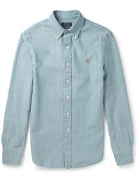 Chemise à manches longues en chambray bleu clair Polo Ralph Lauren