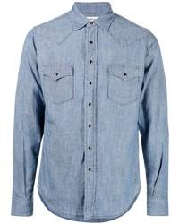 Chemise à manches longues en chambray bleu clair Saint Laurent