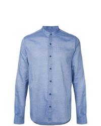 Chemise à manches longues en chambray bleu clair YMC