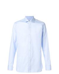 Chemise à manches longues en chambray bleu clair Z Zegna