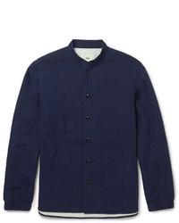 Chemise à manches longues en chambray bleu marine Folk