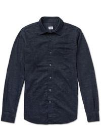 Chemise à manches longues en chambray bleu marine Incotex