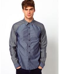 Chemise à manches longues en chambray bleu marine Izzue