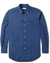 Chemise à manches longues en chambray bleu marine Loro Piana