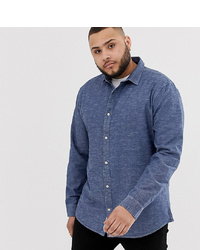 Chemise à manches longues en chambray bleu marine ONLY & SONS