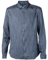 Chemise à manches longues en chambray bleu marine Paul Smith