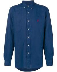 Chemise à manches longues en chambray bleu marine Polo Ralph Lauren
