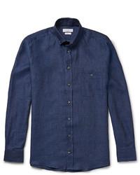 Chemise à manches longues en chambray bleu marine Richard James