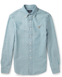 Chemise à manches longues en chambray bleue claire Polo Ralph Lauren