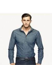 Chemise à manches longues en chambray bleue marine