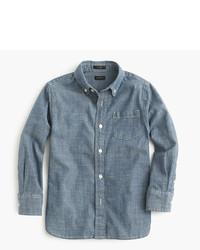 Chemise à manches longues en chambray bleue