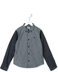 Chemise à manches longues en chambray bleue Armani Junior