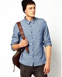 Chemise à manches longues en chambray bleue Asos