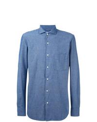 Chemise à manches longues en chambray bleue Aspesi