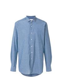 Chemise à manches longues en chambray bleue Bagutta