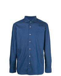 Chemise à manches longues en chambray bleue Borriello