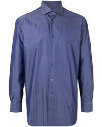 Chemise à manches longues en chambray bleue Brioni