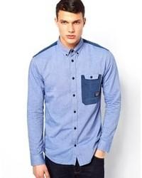 Chemise à manches longues en chambray bleue Jack & Jones