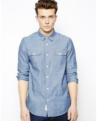 Chemise à manches longues en chambray bleue Jack Wills