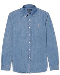 Chemise à manches longues en chambray bleue Polo Ralph Lauren