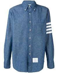 Chemise à manches longues en chambray bleue Thom Browne