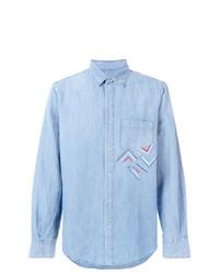 Chemise à manches longues en chambray brodée bleu clair Ermanno Scervino